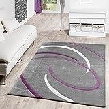Pelo Corto Salón Alfombra Modern espirales patrón gris lila crema Liquidación, 80 x 150 cm