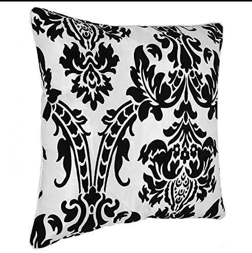 Flock Cushion Covers 18″x18″ Throw Pillow Case Cushion Cover 45×45 cm (White & Black)
