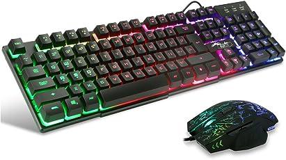 BAKTH Gaming Tastatur und Maus Set, LED Hintergrundbeleuchtung QWERTZ DE Layout, Regenbogen Farben Beleuchtete USB Wasserdicht Tastatur und Maus mit 2400 DPI für Pro PC Gamer + Langlebig Mauspad