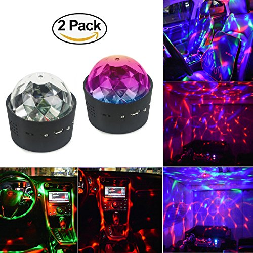 ght LED Lighting,RGB Spot Light 3 W Sound Actived Crystal Magic Rotating Ball Lights Effect USB Charge for Car Decoration KTV Xmas Party Wedding Show Club Pub (2 pack) (Crystal Strobe Light)