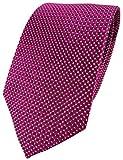 TigerTie Seidenkrawatte in magenta silber gepunktet - Krawatte 100% reine Seide