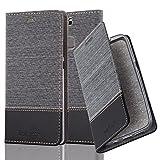 Cadorabo Hülle für Huawei P9 Plus - Hülle in GRAU SCHWARZ - Handyhülle mit Standfunktion & Kartenfach im Stoff Design - Case Cover Schutzhülle Etui Tasche Book