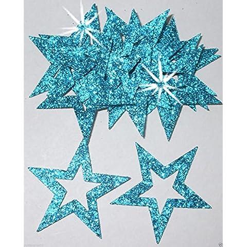 35 mm, Adesivi sagomati con Glitter, a forma di stella, per realizzare biglietti, lavori di Natale Azzurro