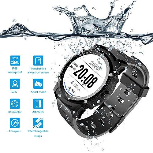 Montre intelligente FS08 étanche / montre de natation / avec fonction GPS, suivi de la fréquence...