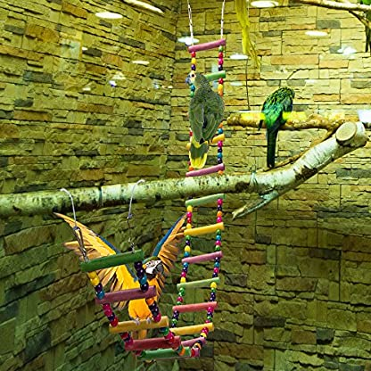 MEWTOGO 1.2 M Colorful Wooden Pet Ladder Bird Toy and a Swing - 18 Steps Rainbow Hanging Climbing Bridge for Parrot Training 4