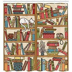 ABAKUHAUS Gato Cortina de Baño, Gatito Nerd Amante de los Libros Durmiendo en Biblioteca Felino Académico Diseño Boho, Estampa Digital Tela Lavable Antibacterial Set de 12 Ganchos, 175 x 200 cm