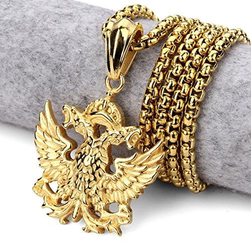 Mcsays à double Eagle Pendentifs Déclaration Colliers 58,4cm Chaîne Hip Hop Bijoux de fête 2couleurs doré