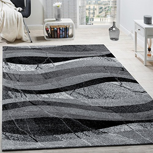 Alfombra De Diseño Moderna De Velour Corto Con Ondas Abstractas Gris, Negra Y Antracita, tamaño:80x150 cm