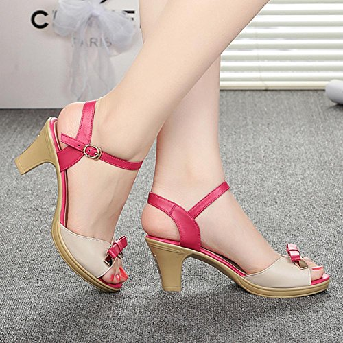 Demen L@YC Damen Sandalen Sommer Slope Mit Fisch Mund Leder Rough Mit Wasserdichten Tisch Fight High Heels Red