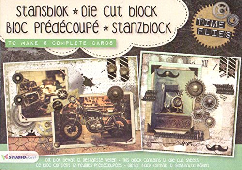 Studio Light A5 Die Cut Block macht 6 Karten - Time Flies a5stansbloksl06