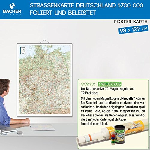 BACHER Postleitzahlenkarte Deutschland, Edition Neoballs, 1:700 000, beschichtet und beleistet: Inklusive Set aus 72 Magnetkugeln (4x18 Stück grün, ... 72 Backdiscs zum Markieren auf der Karte.