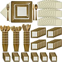 Fancy Disposable Gold & Ivory Dinnerware Set - 24 Guest - 2 Size Square Plates, Cups, Napkins, Spoons, Forks, Knives - Made of Heavyweight Paper - Posh Supplies, Elegant Design for Upscale Party