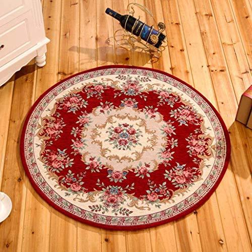 TDTDGXQ Innenteppich Runde Teppich Wohnzimmer Schlafzimmer Sofa Studie Kleiderschrank Teppich Fuß Pad Office Computer Schreibtisch und Stuhl Kissen Rutschfester Teppich Decke,B,Round120cm -