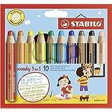 Lápiz de color multitalento STABILO woody 3 en 1 - Estuche con 10 colores