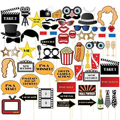 Filmnacht-Requisiten - 60 Stück Hollywood Party Selfie Foto Requisiten Zubehör Geburtstag Party Supplies auf Bambusstäbchen, verschiedene Designs (Video-spiele, Party Supplies)