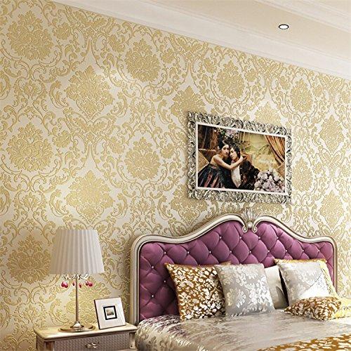 Jane cospargere continentale Damasco Jin Zhi panno non tessuto sfondo carta da parati camera da letto soggiorno-carte da parati , 8675 golden yellow