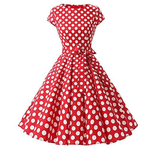 Kostüm Kleid Jahre 50er Polka Dot - Huateng Frauen Vintage Polka Dot Retro Prom Elegante Kleider 50er 60er Jahre Rockabilly mit Gürtel