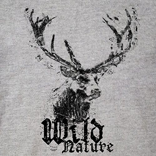 Mädchen Damen Frauen T-Shirt :-: Trachten Platz Hirsch Shirt :-: Wild Nature trendiges Outfit für Oktoberfest Wiesn Volksfest Party Besucher Dunkelgrau