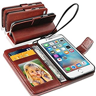 For APPLE iPHONE 6S PLUS - Genuine Real Rich Leather Stand Wallet Flip Case Cover / Quality Slip Pouch / Soft Phone Bag (Specially Manufactured - Premium Quality) Antique Leather Case ( Brown )