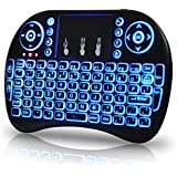Universal 2.4Ghz USB Wireless Keyboard Mouse For Linux Chrome Mac Windows 10 Computer Or Android TV Box Rechargeable Battery Backlit, Blue