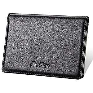 Echtes Leder Visitenkartenetui, ProCase Professional Name Kartenhalter Ultra Slim Wallet Case Kreditkartenetui Folio für…