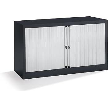 Bisley Armoire à rideaux - horizontal, noir profond / gris clair ...