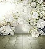 Digital Bedruckte 3D weiß Rosen Hintergrund Romantische Blumen Wand Hintergrund Hochzeit Foto Studio Tapete Stoff vintage floral Photography Hintergrund 8x Ladekabel