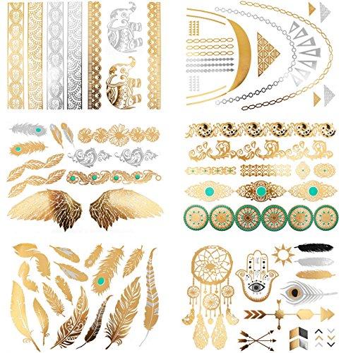 mowom-temporal-metlico-tatuajes-pulsera-brazalete-collar-oro-dorado-plata-elefante-pluma-feather-ala