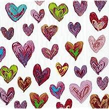Feliz corazones marfil Caspari servilletas de papel Almuerzo 20 en unidades 3 capas 33 ...