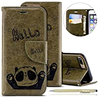Herbests Handytasche für iPhone 7 Plus/iPhone 8 Plus Lederhülle Niedlich 3D Panda Muster Flip Case Cover Hülle Leder Klapphülle Leder Tasche im Bookstyle Handyhülle Brieftasche Schutzhülle,Grün