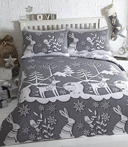 Mountain snow, copripiumino natalizio con federa, grey, singolo