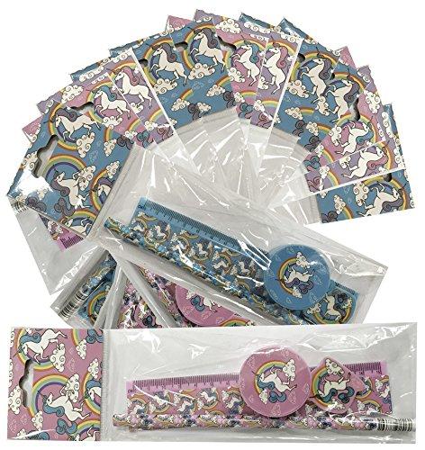 12 x Packungen Schreibset Design Einhorn. Kinder Schule Briefpapier Set. 4 tlg. Bleistift, Spitzer,...