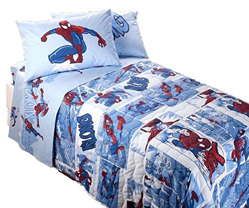 Trapuntino caleffi spiderman fumetto170x270cm puro cotone 100% primaverile