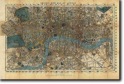 Vintage London Karte von 1860 forografía en afiche o póster Lámina artística y original para regalo 30x20 cm Map From