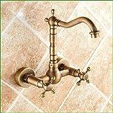 ETERNAL QUALITY Badezimmer Waschbecken Wasserhahn Messing Hahn Waschraum Mischer Mischbatterie Tippen Sie auf Alle Kupfer antik Wand Waschbecken Armaturen das Mischen von