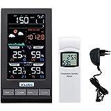 VLIKE Estación meteorológica con 1PCS sensores Estación meteorológica al Aire Libre Radio Control Reloj Círculo Pantalla Temp