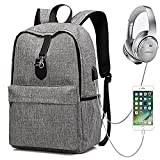 Laptop Backpack, XQXA Anti Theft Backpack with USB Charging Port and Headphone Jack Water Resistant School Rucksack 15.6 Inch PC Computer Bags for College, Work, Travel - Grey