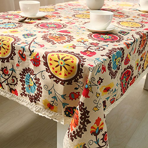Baumwolle Tischdecke Ethnisch Böhmen Leinen Tischdecke Bezugstuch Stoff Tischdecke Multi-size,Sunflower-100×140cm (Stoff Böhmen)