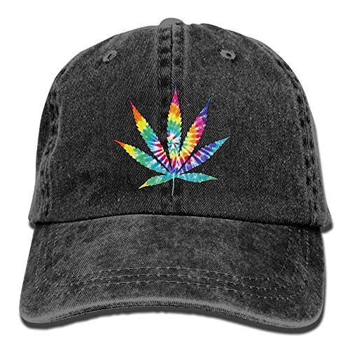 Men and Women Weed Leaf Tie Dye Vintage Jeans Baseball Cap (Baby Kostüme Am Ziel)