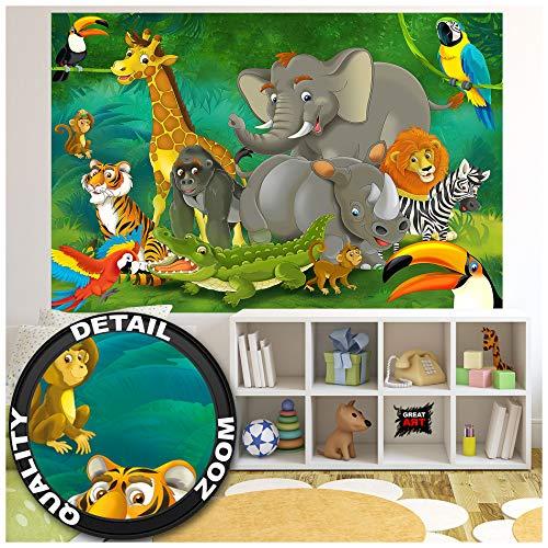 Great Art XXL Poster Kinderzimmer - Dschungel Safari - Dekoration Natur Tierpark Wilde Tiere Giraffe Elefant AFFE Löwe Papagei Kinder Wandposter Wandgestaltung Comic Style (140 x 100 cm)