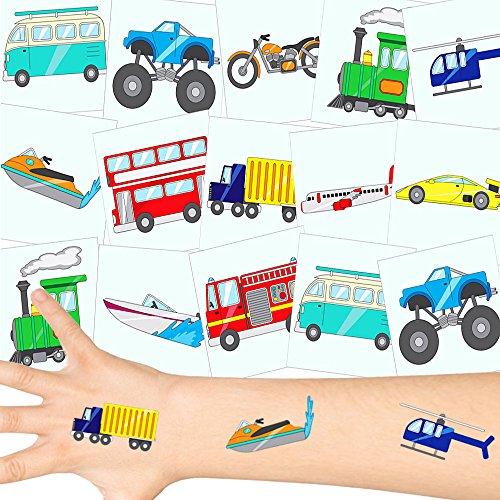 German-Trendseller  - Fahrzeuge Tattoos Set ┃ Neu ┃ Kinder Party ┃ Kindergeburtstag ┃ Mitgebsel ┃36 Tattoos