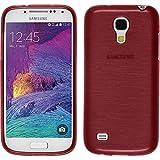 PhoneNatic Case kompatibel mit Samsung Galaxy S4 Mini Plus I9195 - rot Silikon Hülle Brushed + 2 Schutzfolien