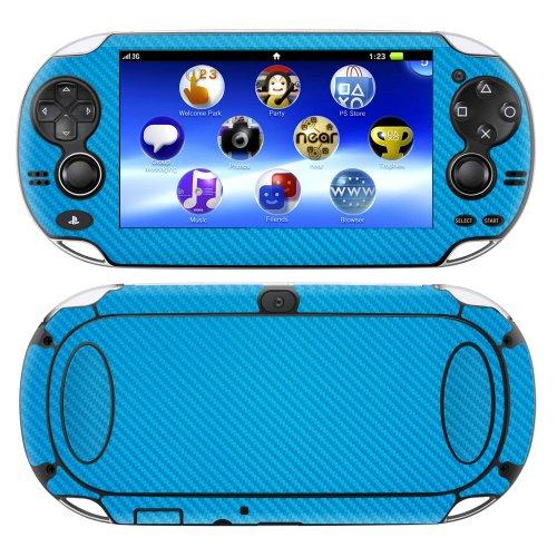 decalrus-Playstation PSP Vita Full Body Carbon Faser Haut Skins Aufkleber für Case Cover Wrap Lite Blue Carbon Fiber