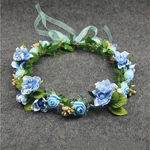 GCF® Braut Blumen Einstellbare Crown Haar Mädchen Kamelie Blume Einfache Halo Woodland Hairpiece Hochzeit Rustikal , blue garland (Halo-helm Rot)