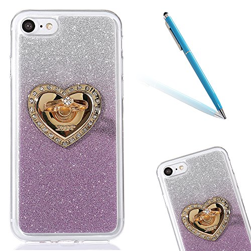 Clear Matte Crystal Rubber Protettivo Case Skin per Apple iPhone 7 4.7, CLTPY Moda Brillantini Glitter Sparkle Lustro Progettare Protezione Ultra Sottile Leggero Cover per iPhone 7 + 1x Stilo - Purpl Porpora con Ring