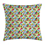 tgyew Abstract Triangle Throw Pillow Cushion Cover, Colorful Geometric Composition with Ornate Rhombus Shapes Abstract Art, Decorative Square Accent Pillow Case, 18 X 18 inches, Multicolor