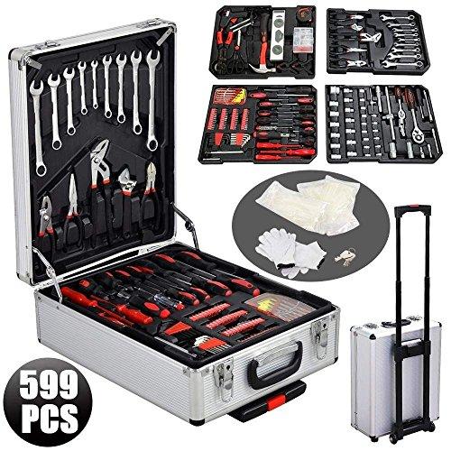 FIXKIT Alu Werkzeugkoffer, abschließbar, Universal- und Haushalts-Werkzeugkasten inkl. Arbeitshandschuhe, Trolley bestückt