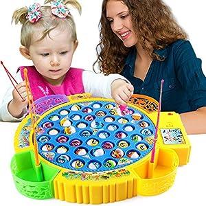 Games und More Angelspiel Kinderspiel Drehende Magnetischer Fisch Spielzeug Angeln Spielzeug Fische Spiel Brettspiel Fische Pädagogisches Spielzeug 3,4,5,6 Jahren