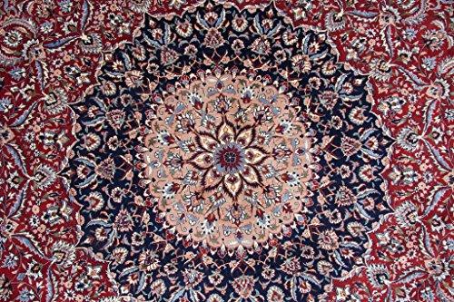 Isfahan teppich rund cm handgeknüpft blau rot