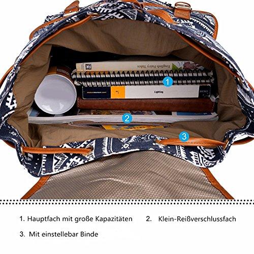 Leefrei casual Canvas Damen Herren Rucksack Daypack Backpacks Freizeitrucksack Schulrucksack Schultasche (Elefant Blau) Elefant Blau1